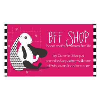 Stuffed bunny stuffie handmade toys seamstress business card