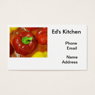 Stuffed Red and Yellow Bell Peppers Business Card