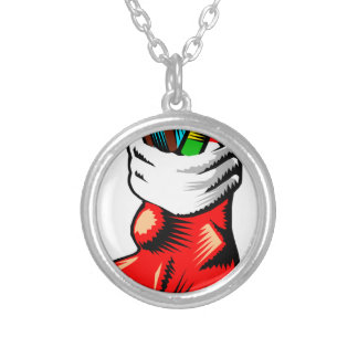 Stuffed Stocking Silver Plated Necklace