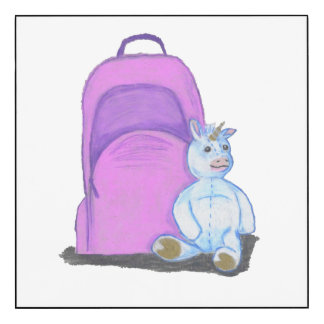 Stuffed Unicorn sits by a purple school Backpack