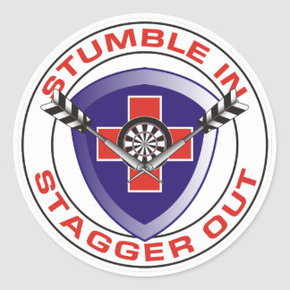 Stumble In Stagger Out Darts Team Classic Round Sticker