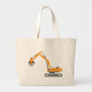 Stump and Stone Cutter Excavator Vector Large Tote Bag