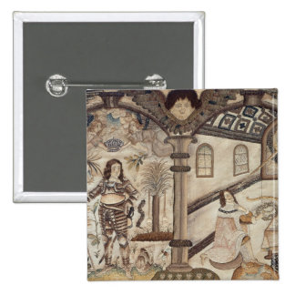 Stumpwork depicting Charles I  and Charles II 2 Inch Square Button