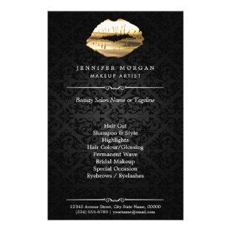 Stunning 3D Gold Lips Makeup Artist Beauty Salon Flyer
