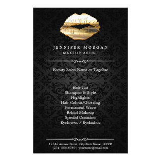 Stunning 3D Gold Lips Makeup Artist Beauty Salon Flyer Design