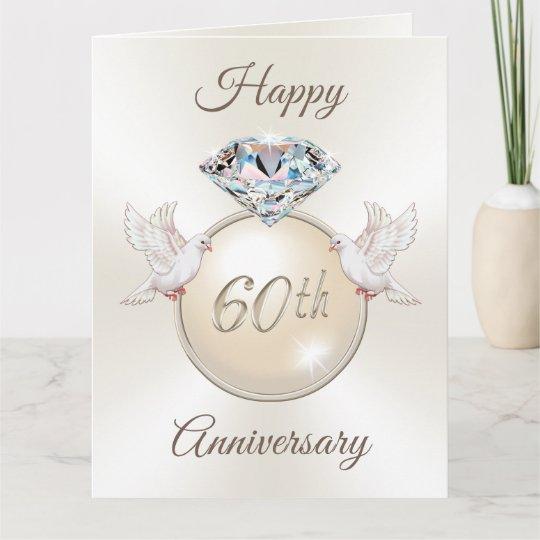 stunning 60th wedding anniversary cards in 3 sizes  zazzleca