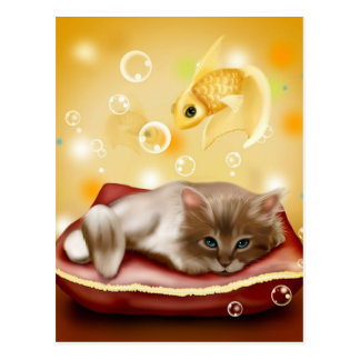Stunning artwork with sleepy cat and goldfish postcard