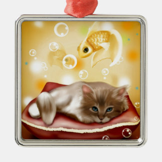 Stunning artwork with sleepy cat and goldfish Silver-Colored square ornament