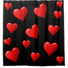 Stunning Black and Red Hearts Shower Curtain