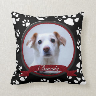 Stunning Black and White Dog Memorial Paw Prints Throw Pillow
