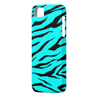 Stunning Black/Aqua Tiger Print - iPhone 5 Case