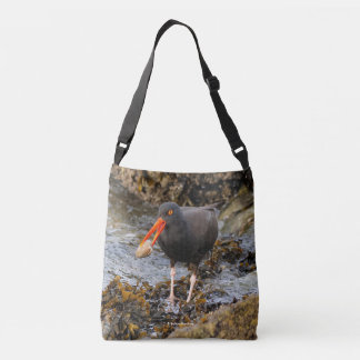 Stunning Black Oystercatcher with Clam Crossbody Bag