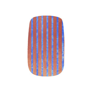 Stunning blue and red striped minx nail art