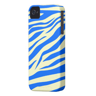 Stunning Blue/Beige Zebra Print - iPhone 4/4s Case