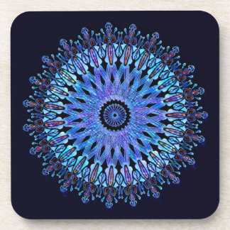 Stunning blue mosaic kaleidoscope coaster