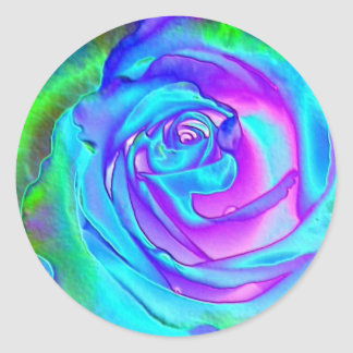 Stunning Blue Rose Round Sticker