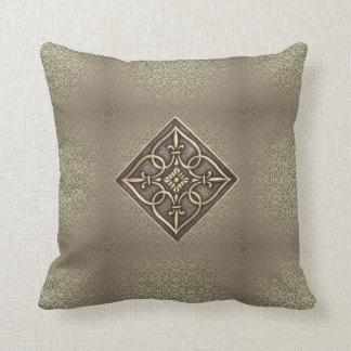 Stunning Brass Celtic Knot Heart Tiles Throw Pillow