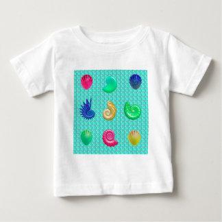 Stunning Bright Seashell Blue Beach Pattern Baby T-Shirt
