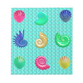 Stunning Bright Seashell Blue Beach Pattern Notepad