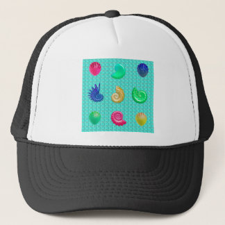 Stunning Bright Seashell Blue Beach Pattern Trucker Hat