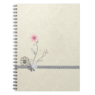 Stunning Chic Girly Silver Design with Pink Flower Note Book