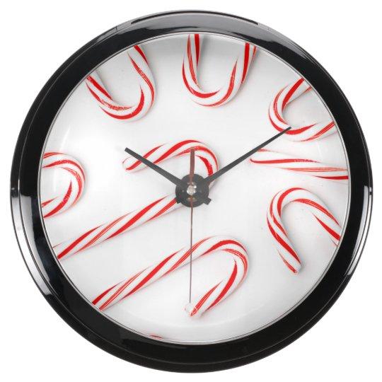 Stunning Christmas Candy Canes Aqua Clock