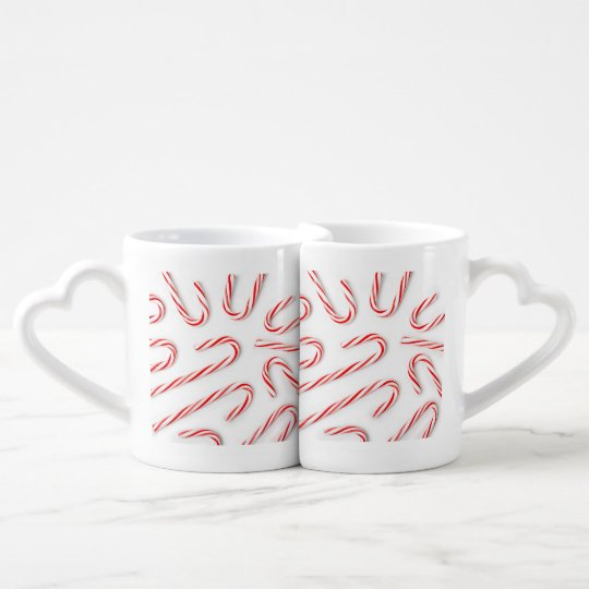Stunning Christmas Candy Canes Coffee Mug Set