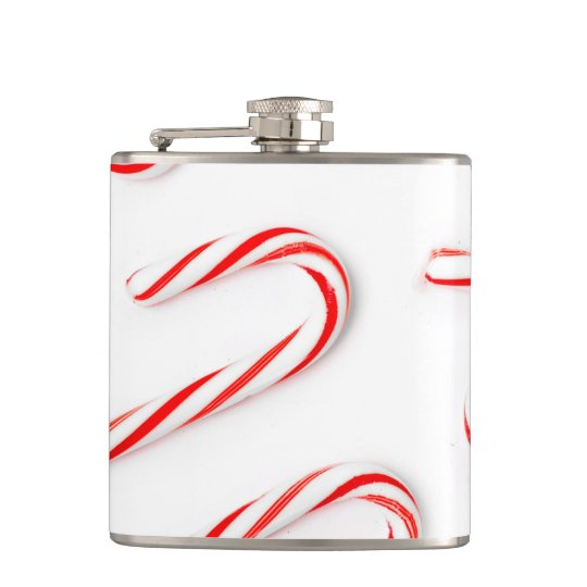 Stunning Christmas Candy Canes Hip Flask