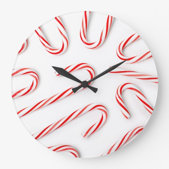 Stunning Christmas Candy Canes Large Clock