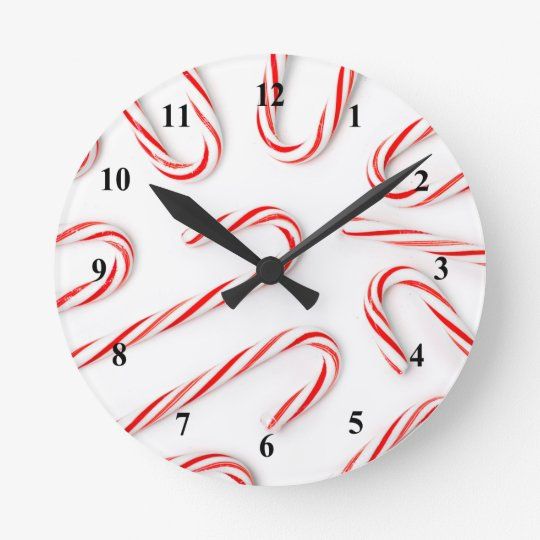 Stunning Christmas Candy Canes Round Clock