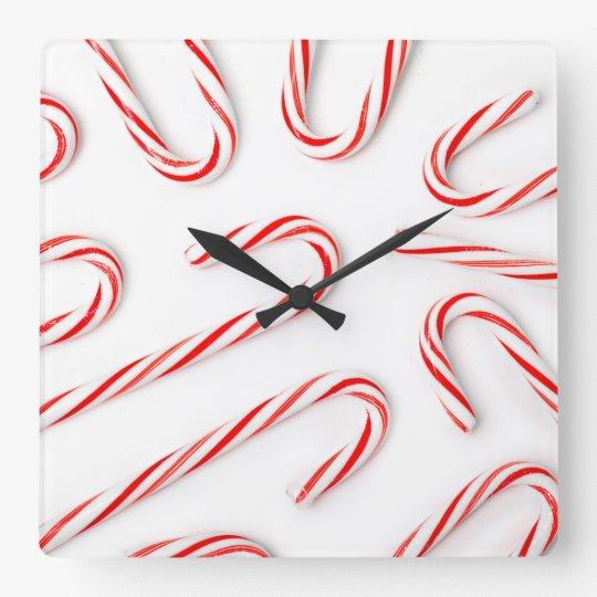 Stunning Christmas Candy Canes Square Wall Clock