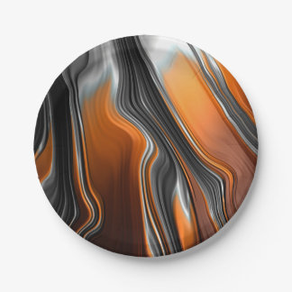 Stunning chrome-orange fractal abstract 7 inch paper plate