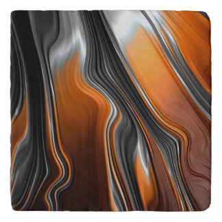 Stunning chrome-orange fractal abstract trivet