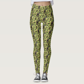 Stunning curly yellow & green cactus photo pattern leggings