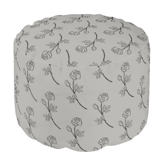 Stunning elegant black rose design pouf