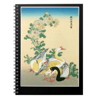 Stunning Exotic Japanese Three Geese Chrysanthemum Notebook