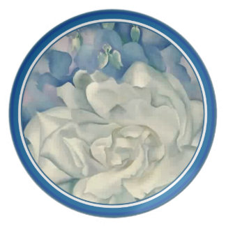 Stunning Georgia O'Keefe White Rose and Larkspur Dinner Plates