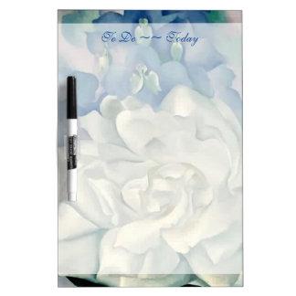 Stunning Georgia O'Keefe White Rose and Larkspur Dry Erase Whiteboards