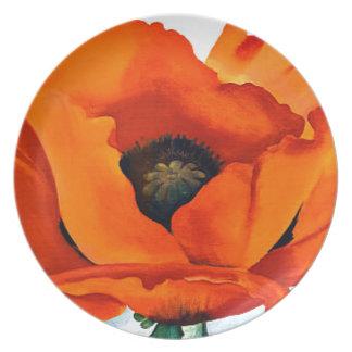 Stunning Georgia O'Keeffe Red Poppy Dinner Plates