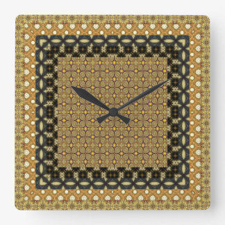 Stunning Gold And Black Tiled Motifs Wall Clock