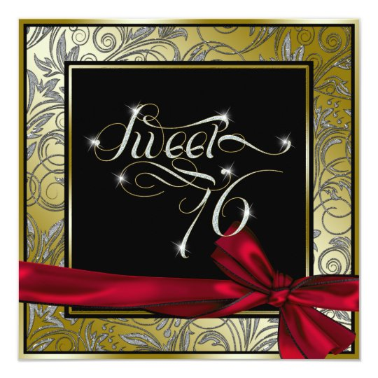 Stunning Gold Art Nouveau Sweet Sixteen Card