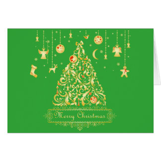 Stunning Gold Christmas Tree Red Ornaments Card