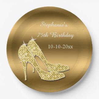 Stunning Gold Sparkly Stilettos Birthday Paper Plate