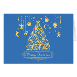 Stunning Gold Tree Red Ornaments Merry Christmas Card
