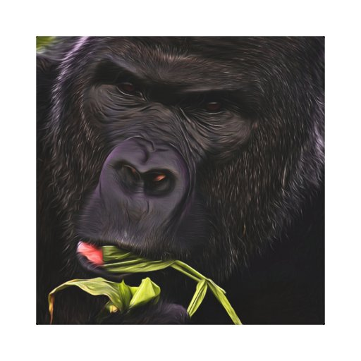 Stunning Gorilla Having A Healthy Snack Canvas Prints