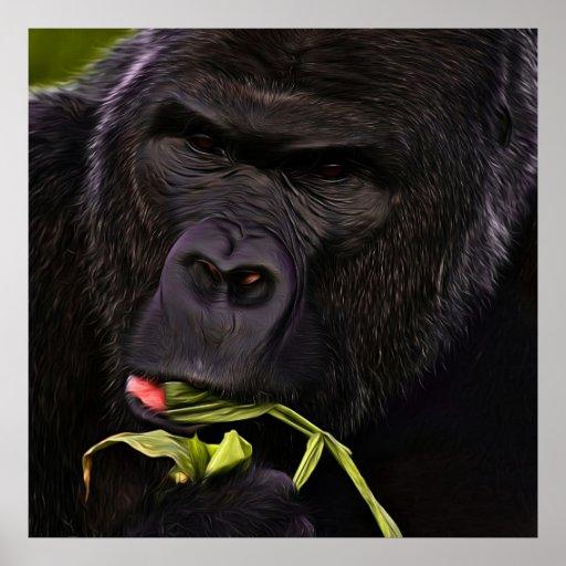 Stunning Gorilla Having A Healthy Snack Print