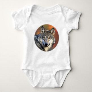 Stunning gray wolf baby bodysuit