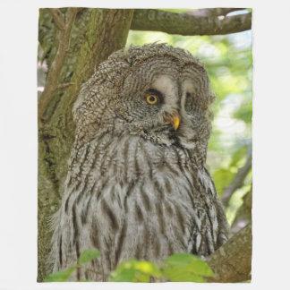 Stunning Great Grey Owl Fleece Blanket