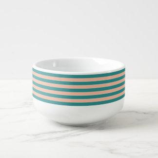 Stunning Green and Tan Stripe Soup Mug