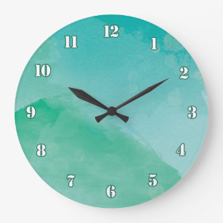 Stunning Green Blue Watercolor Effect Large Clock